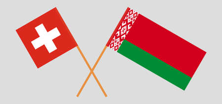 Crossed flags of Belarus and Switzerland. Official colors. Correct proportion. Vector illustration