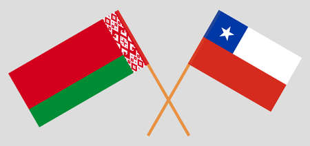 Crossed flags of Belarus and Chile. Official colors. Correct proportion. Vector illustration Ilustrace