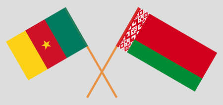Crossed flags of Belarus and Cameroon. Official colors. Correct proportion. Vector illustration Ilustrace