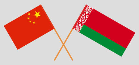 Crossed flags of Belarus and China. Official colors. Correct proportion. Vector illustration Ilustrace