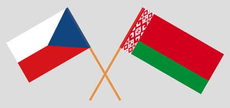 Crossed flags of Belarus and Czech Republic. Official colors. Correct proportion. Vector illustration