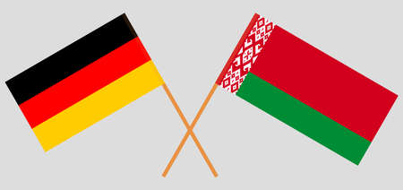 Crossed flags of Belarus and Germany. Official colors. Correct proportion. Vector illustration