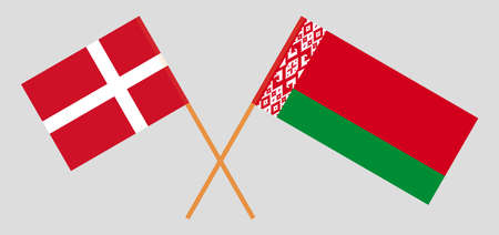 Crossed flags of Belarus and Denmark. Official colors. Correct proportion. Vector illustration