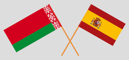 Crossed flags of Belarus and Spain. Official colors. Correct proportion. Vector illustration Ilustrace