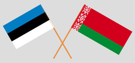Crossed flags of Belarus and Estonia. Official colors. Correct proportion. Vector illustration