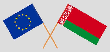 Crossed flags of Belarus and the EU. Official colors. Correct proportion. Vector illustration Ilustrace