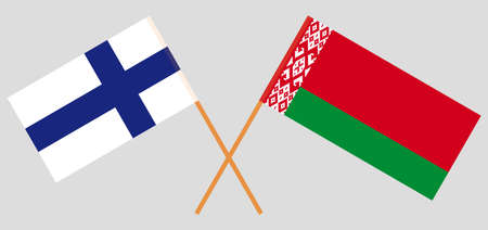 Crossed flags of Belarus and Finland. Official colors. Correct proportion. Vector illustration Illustration