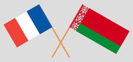 Crossed flags of Belarus and France. Official colors. Correct proportion. Vector illustration Ilustrace
