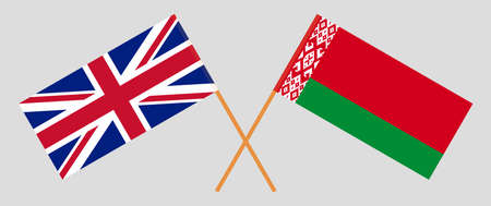 Crossed flags of Belarus and the UK. Official colors. Correct proportion. Vector illustration