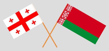 Crossed flags of Belarus and Georgia. Official colors. Correct proportion. Vector illustration