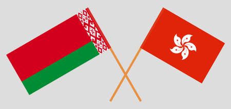 Crossed flags of Belarus and Hong Kong. Official colors. Correct proportion. Vector illustration
