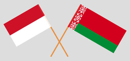 Crossed flags of Belarus and Indonesia. Official colors. Correct proportion. Vector illustration Ilustrace
