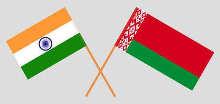 Crossed flags of Belarus and India. Official colors. Correct proportion. Vector illustration Ilustrace