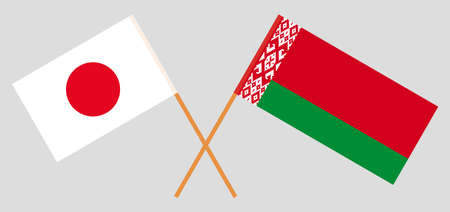 Crossed flags of Belarus and Japan. Official colors. Correct proportion. Vector illustration Ilustrace