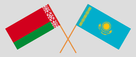 Crossed flags of Belarus and Kazakhstan. Official colors. Correct proportion. Vector illustration Ilustrace