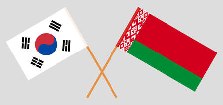 Crossed flags of Belarus and South Korea. Official colors. Correct proportion. Vector illustration Ilustrace