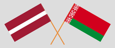 Crossed flags of Belarus and Latvia. Official colors. Correct proportion. Vector illustration Ilustrace