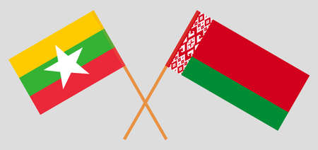 Crossed flags of Belarus and Myanmar. Official colors. Correct proportion. Vector illustration Ilustrace