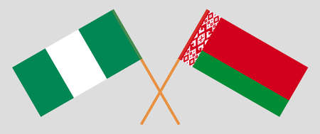 Crossed flags of Belarus and Nigeria. Official colors. Correct proportion. Vector illustration Ilustrace