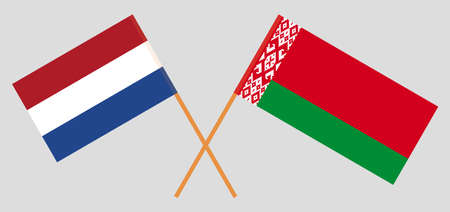 Crossed flags of Belarus and Netherlands. Official colors. Correct proportion. Vector illustration