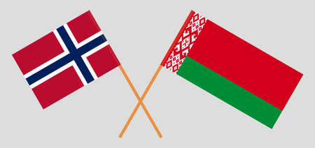 Crossed flags of Belarus and Norway. Official colors. Correct proportion. Vector illustration