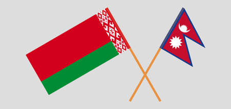Crossed flags of Belarus and Nepal. Official colors. Correct proportion. Vector illustration