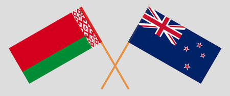 Crossed flags of Belarus and New Zealand. Official colors. Correct proportion. Vector illustration Ilustrace