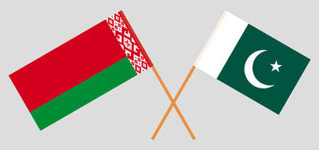 Crossed flags of Belarus and Pakistan. Official colors. Correct proportion. Vector illustration