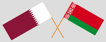 Crossed flags of Belarus and Qatar. Official colors. Correct proportion. Vector illustration
