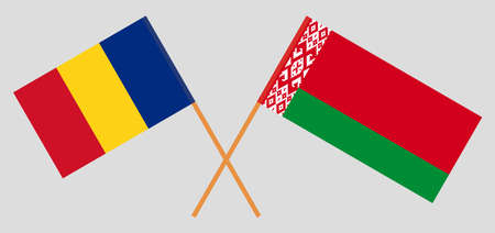 Crossed flags of Belarus and Romania. Official colors. Correct proportion. Vector illustration