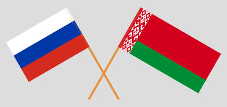 Crossed flags of Belarus and Russia. Official colors. Correct proportion. Vector illustration Ilustrace