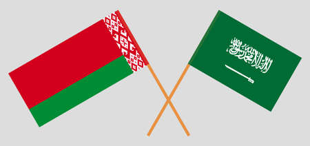 Crossed flags of Belarus and the Kingdom of Saudi Arabia. Official colors. Correct proportion. Vector illustration