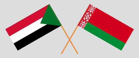 Crossed flags of Belarus and Sudan. Official colors. Correct proportion. Vector illustration