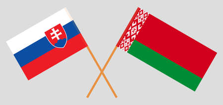 Crossed flags of Belarus and Slovakia. Official colors. Correct proportion. Vector illustration