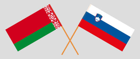 Crossed flags of Belarus and Slovenia. Official colors. Correct proportion. Vector illustration