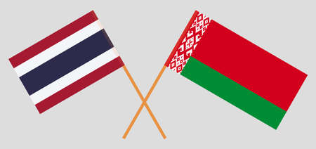 Crossed flags of Belarus and Thailand. Official colors. Correct proportion. Vector illustration