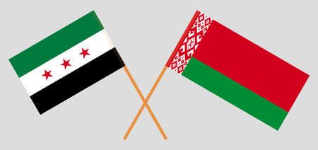 Crossed flags of Belarus and Interim Government of Syria. Official colors. Correct proportion. Vector illustration Ilustrace
