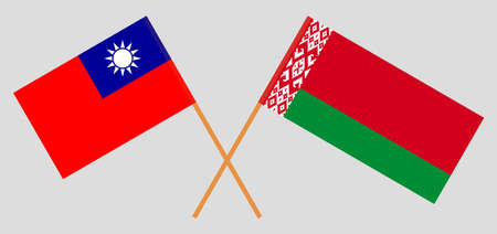 Crossed flags of Belarus and Taiwan. Official colors. Correct proportion. Standard-Bild - 155259191