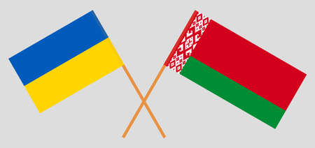 Crossed flags of Belarus and Ukraine. Official colors. Correct proportion. Standard-Bild - 155259192