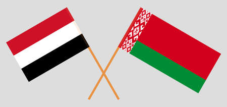 Crossed flags of Belarus and Yemen. Official colors. Correct proportion. Illustration