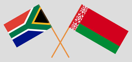 Crossed flags of Belarus and the RSA. Official colors. Correct proportion. Standard-Bild - 155259190