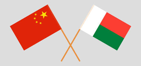 Crossed flags of Madagascar and China. Official colors. Correct proportion. Standard-Bild - 155259195