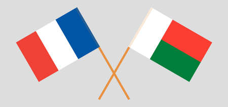 Crossed flags of Madagascar and France. Official colors. Correct proportion. Illustration
