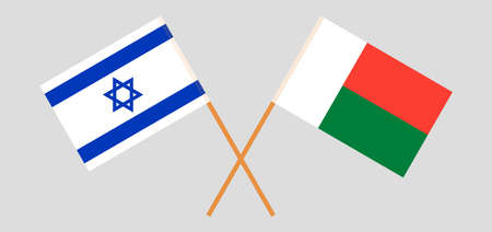 Crossed flags of Madagascar and Israel. Official colors. Correct proportion. Standard-Bild - 155259201