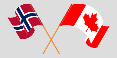 Crossed and waving flags of Norway and Canada.