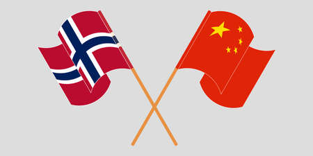 Crossed and waving flags of Norway and China. Standard-Bild - 155258890