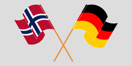 Crossed and waving flags of Norway and Germany. Illustration