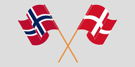 Crossed and waving flags of Norway and Denmark. Vector illustration