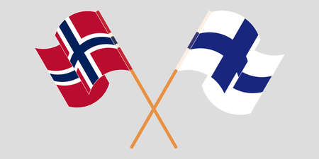 Crossed and waving flags of Norway and Finland.
