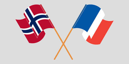 Crossed and waving flags of Norway and France.